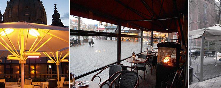 Horeca parasol met verwarming voor het terras van mijn café besteld